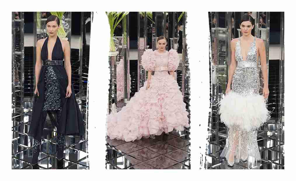 Kolaż z trzech zdjęć z pokazu Chanel.