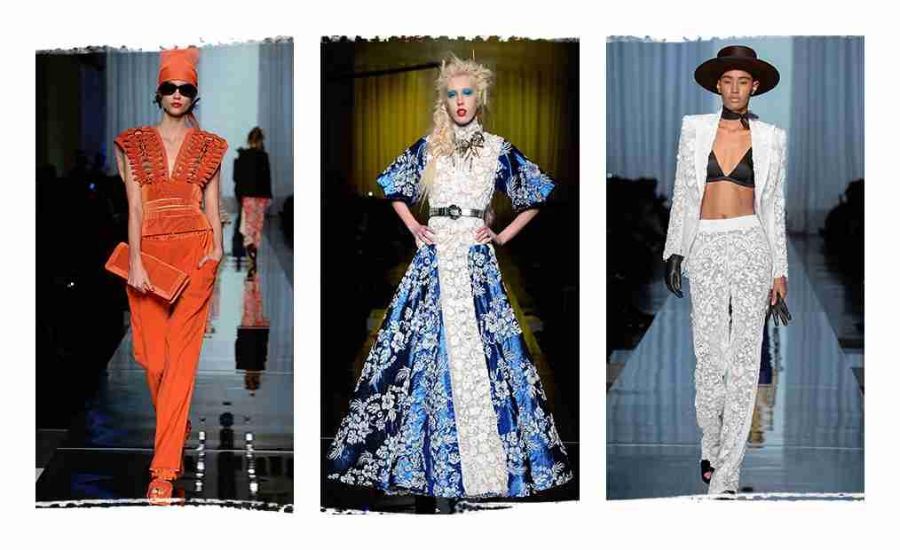Trzy zdjęcia z pokazu mody. Jean Paul Gaultier.