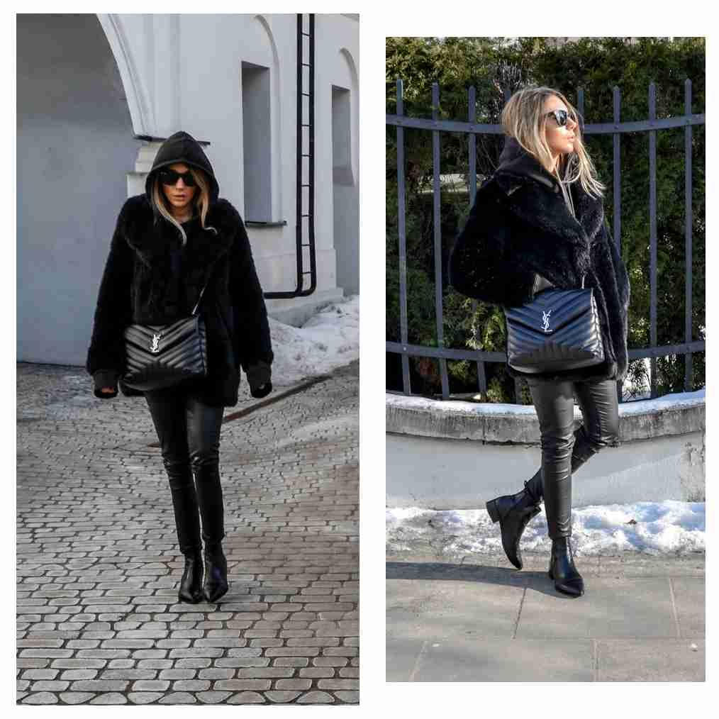 Kolaż, dwa zdjęcia, Klaudia ubrana na czarno.