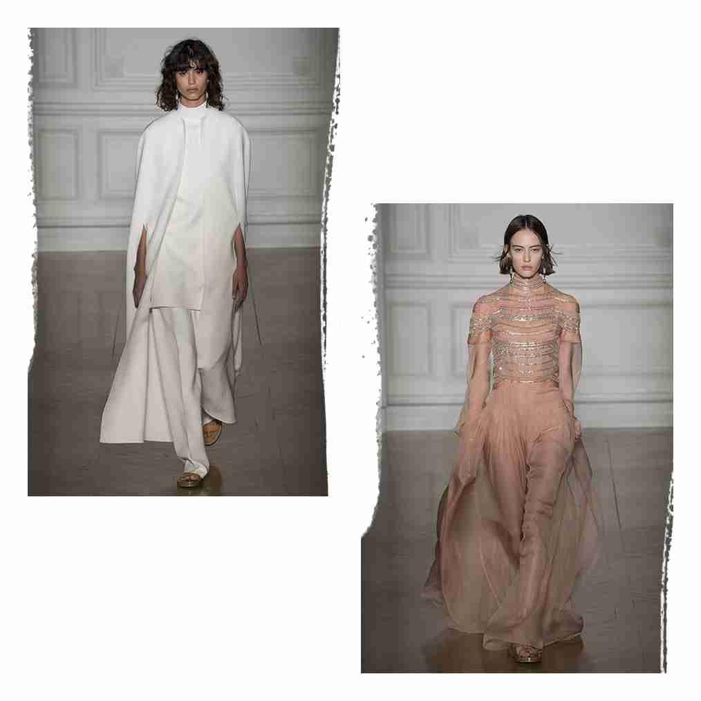 Dwa zdjęcia kobiet w długich sukniach z pokazu Valentino.
