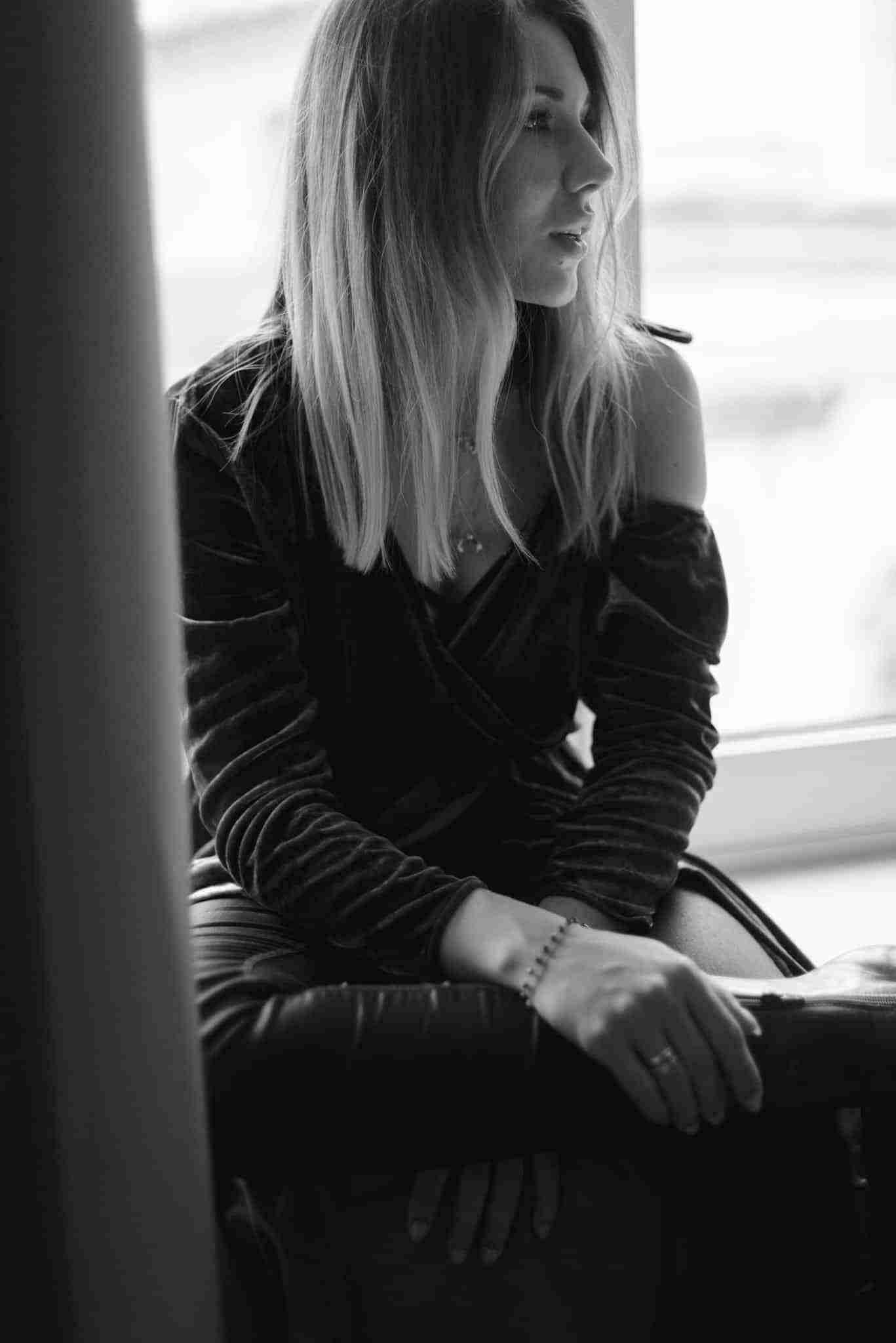 Biało czarne zdjęcie Klaudii.